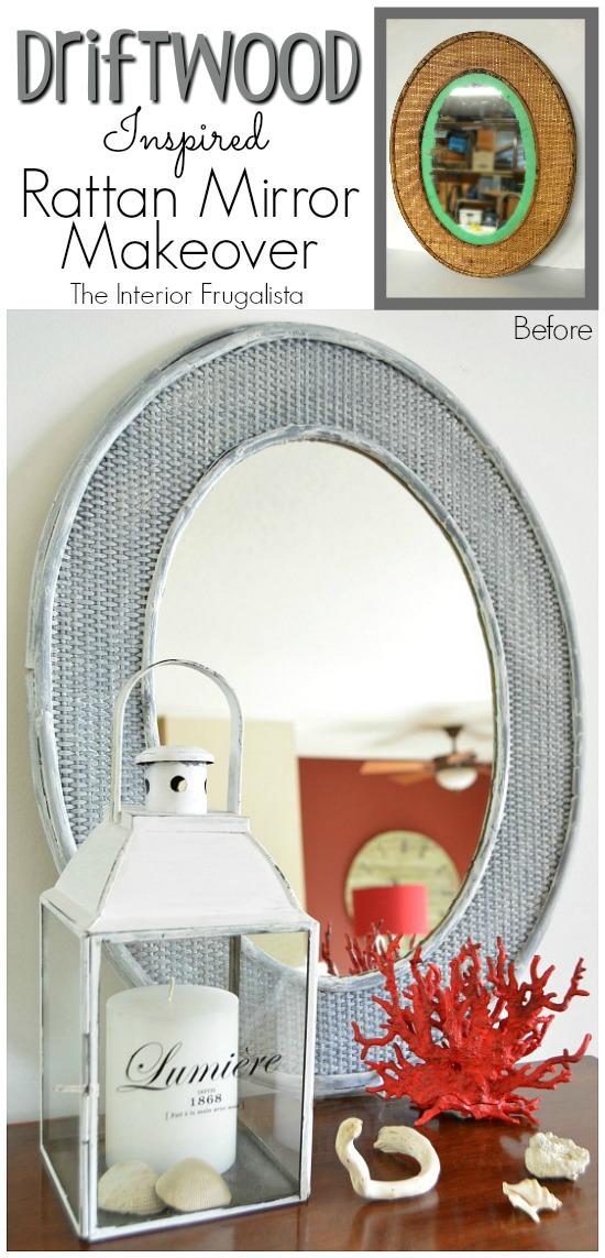 Driftwood inspired rattan mirror diy