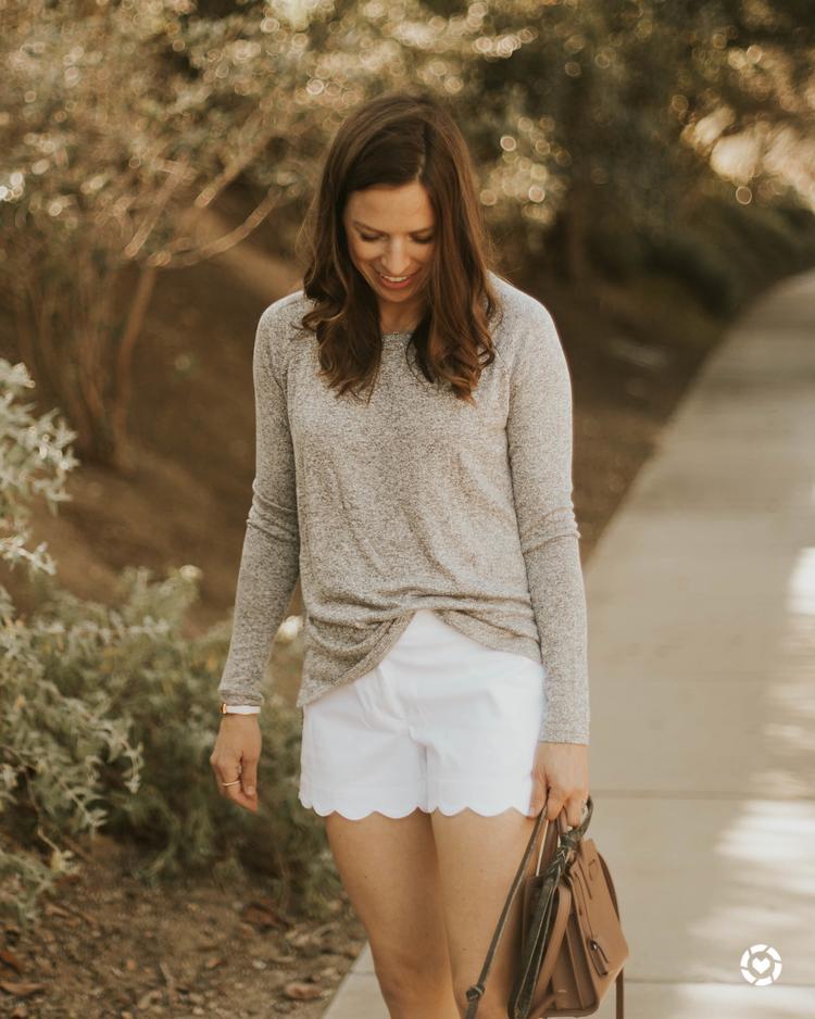 white scalloped shorts