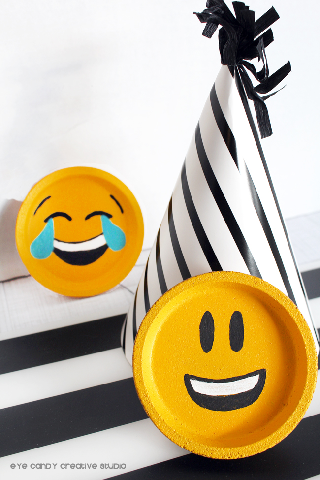 emoji birthday party, emoji decor, emoji coasters, emoji craft