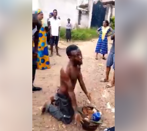 Man Caught While Trying To Bury 'Juju' In An Uncompleted Building. Photos
