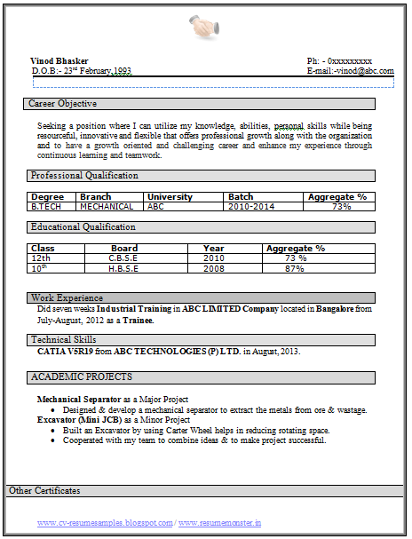 sample resume for freshers engineers