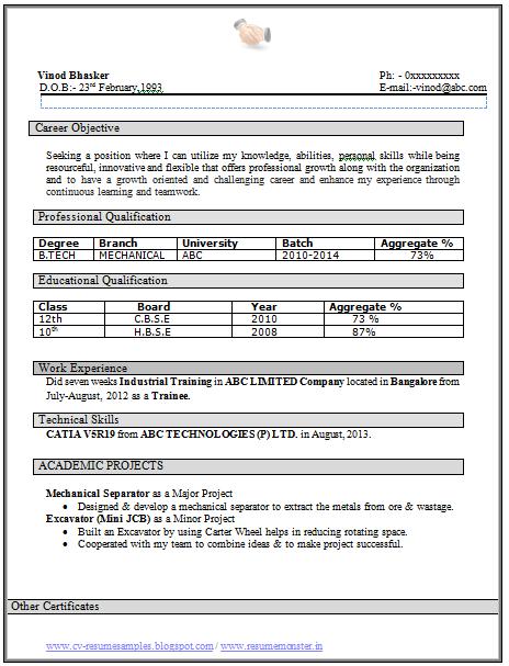 btech fresher resume samples