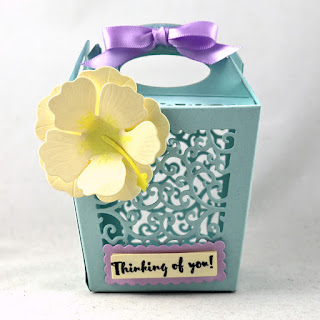Divinity Designs Custom Dies: Glorious Gable Box, Hibiscus, Scalloped Rectangles, Rectangles, Stamp Set: Birdhouse