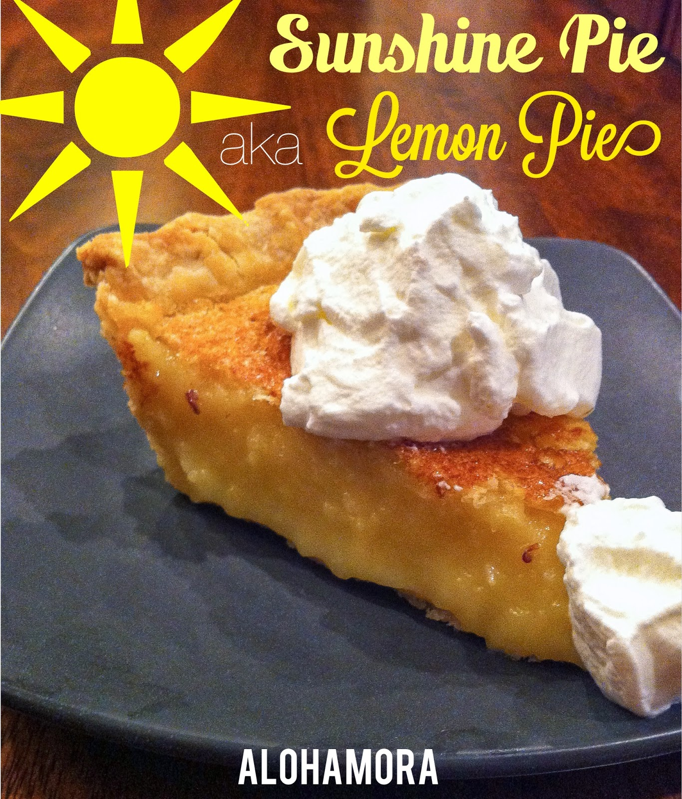 Lemon Pie aka Sunshine Pie to bring a little more sunshine in your life.  This pie is easy to make,  sweet and sour, and crowd pleaser.  Alohamora: Open a Book http://alohamoraopenabook.blogspot.com/