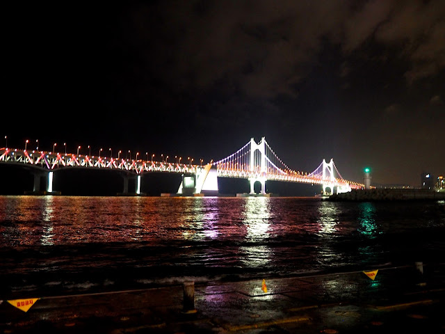 Gwangan bridge lit at night, Busan, South Korea