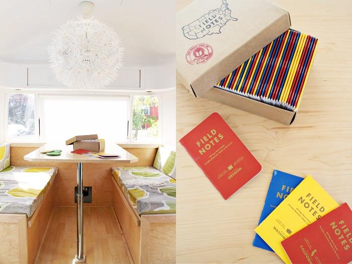 mesa de caravana. Lámpara Ikea. Cuadernos de viaje