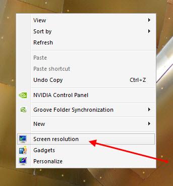 ddf5ab749 إضغط كليك يمين على سطح المكتب في اي مكان فارغ قم أختر Screen resolution