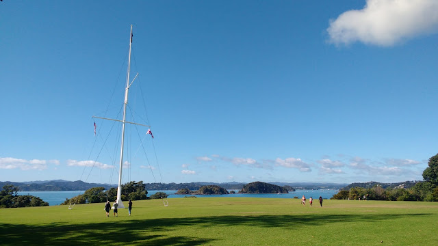Flagstaff and view of Bay of Islands