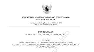Inilah Info CPNS Kemenko Perekonomian 2017