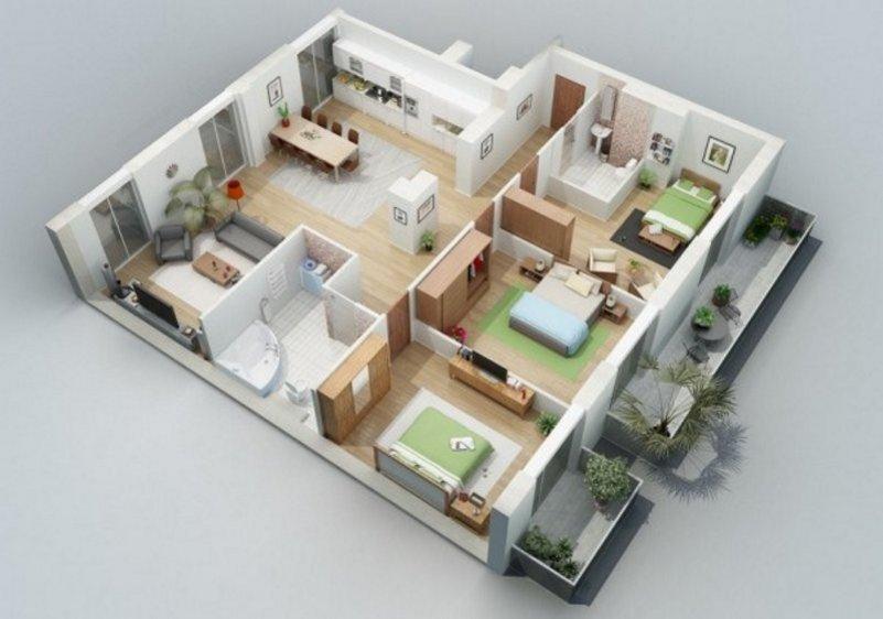 denah rumah 3 kamar tidur 1 lantai 3D 2