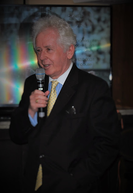 Jeff Powell speaking in the Bobby Moore lounge at Royal Garden Hotel, photo by Modern Bric a Brac