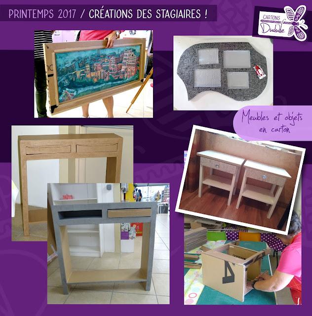 cours à l'année, ateliers, stage de création meuble et objets en carton et papier mâché par Cartons Dudulle