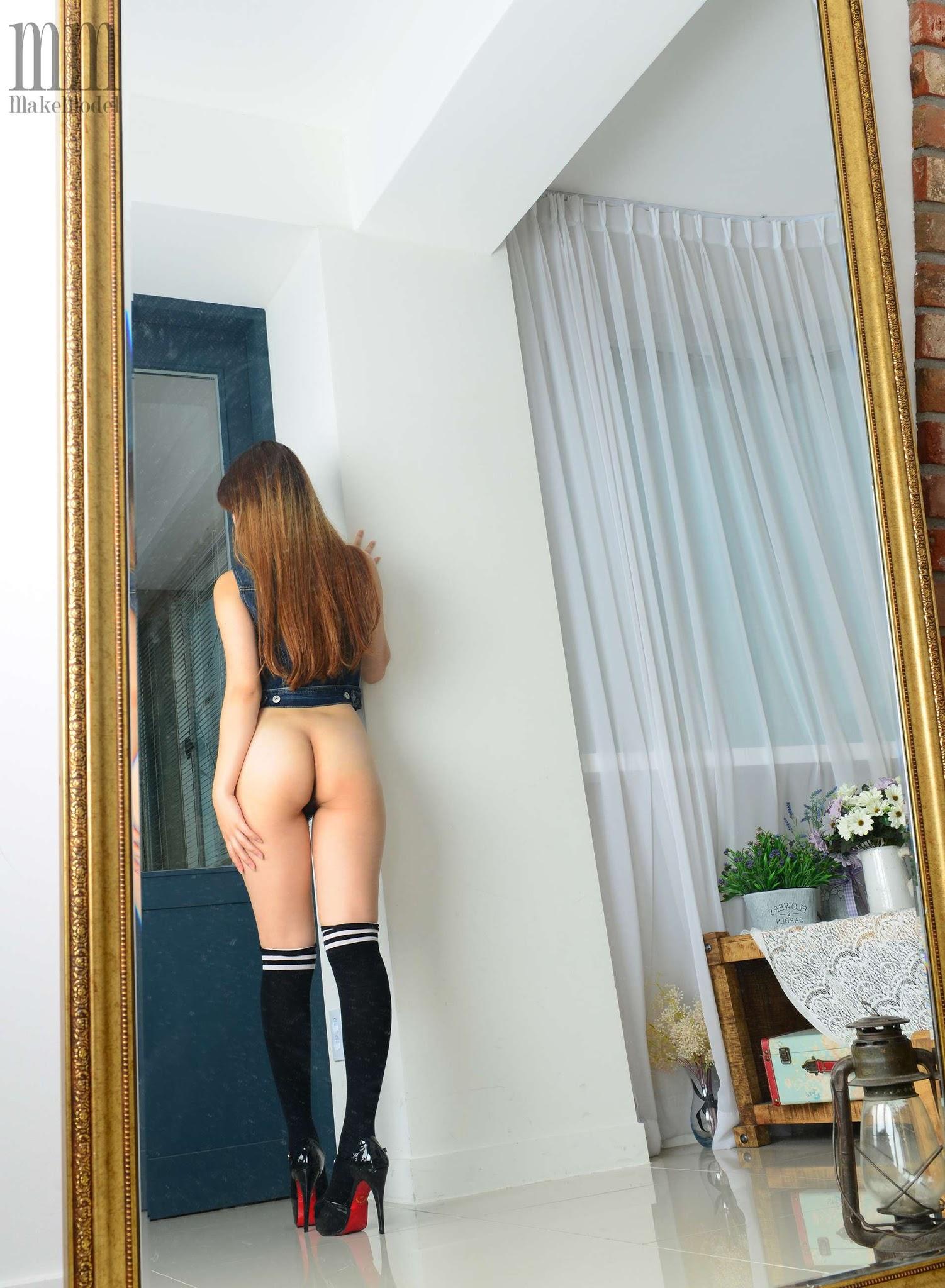 韩国Makemodel 도희 Dohui Naked | Topless Jean Jacket Set ...