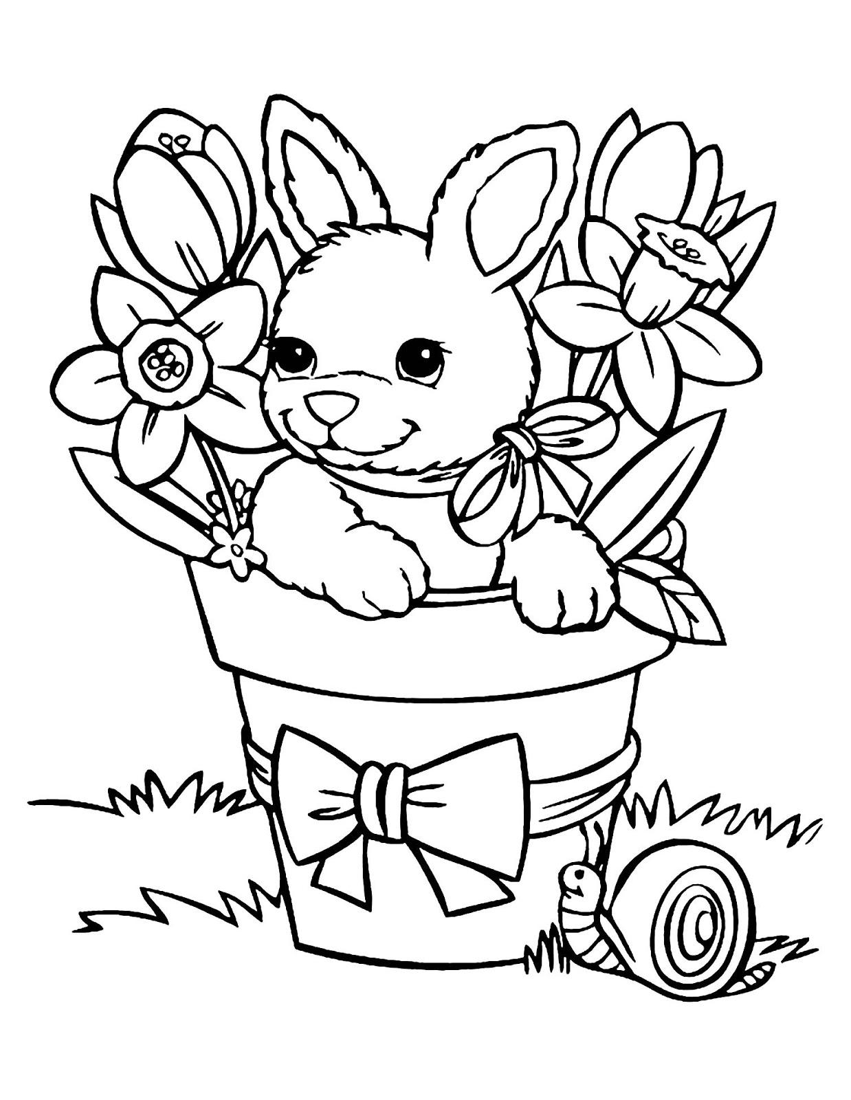 Tranh tô màu con thỏ trong chậu hoa