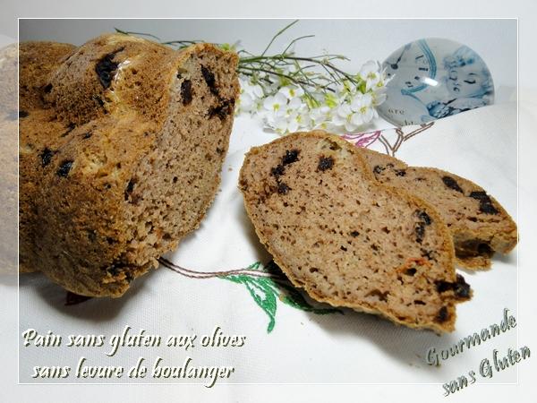 Pain aux olives, sans gluten, sans levure de boulanger