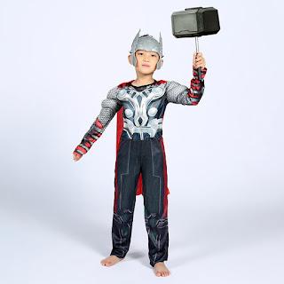 Thor super eroe marvel avengers justice league Costume imbottito con muscoli + mantello + maschera elmo di Carnevale cosplay travestimento a tema per bambini misura taglia età 4 5 6 7 8 9 10 11 anni.