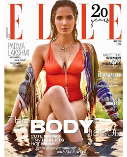 Padma Lakshmi spicy Red Body Suit and bikini on Cover Page of Elle India May 216