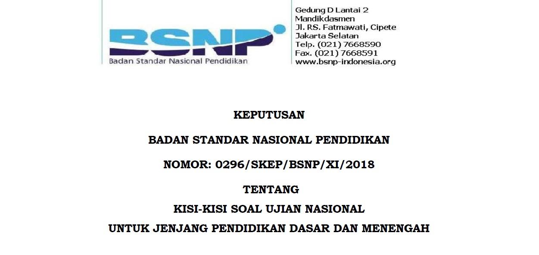 Download Kisi-kisi USBN dan UN 2019 Untuk SD, SMP, SMA dan SMK