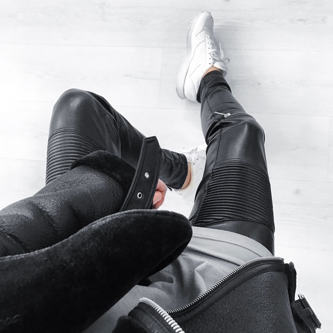 black and white, minimal, outfit, reebok classic, leather pants, zara shearling coat