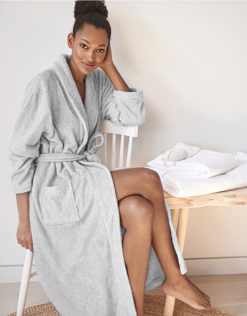 the white company unisex shawl collar towelling robe