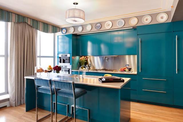 Contoh pemilihan warna cat tosca rumah minimalis untuk desain dapur