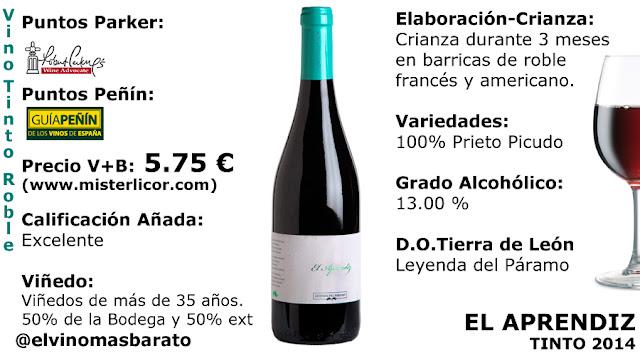 comprar vino tinto el aprendiz 2014 de leyenda del paramo prieto picudo tierra de leon
