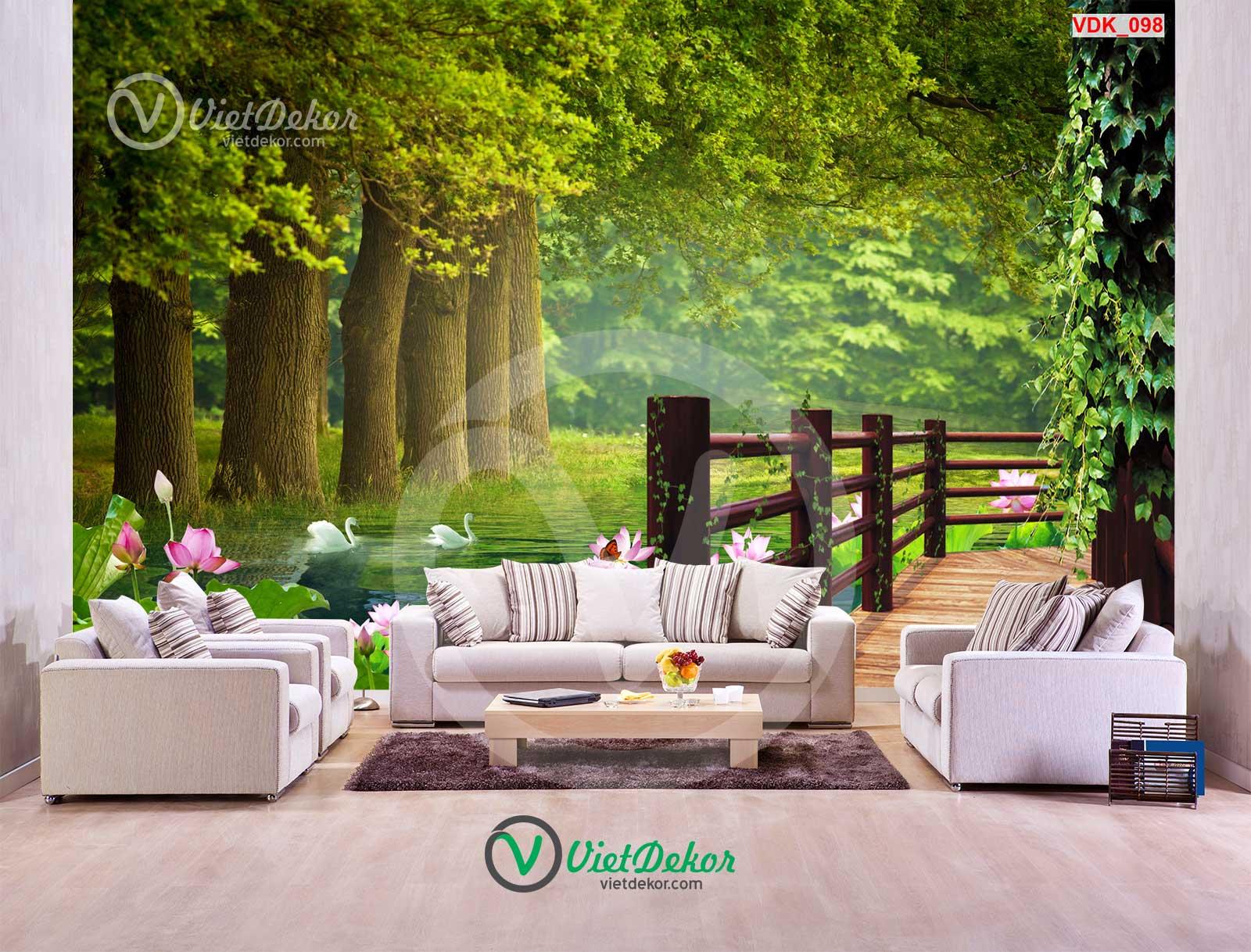 Tranh 3d phong cảnh cánh rừng thiên nhiên đẹp