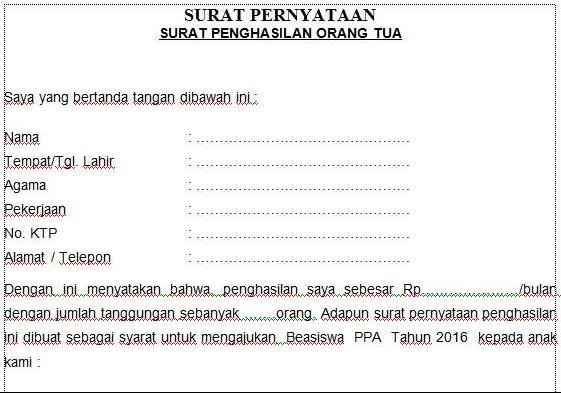 Contoh Surat Pernyataan Ortu Simak Gambar Berikut