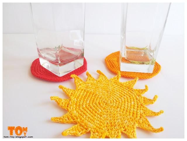 Вязаные крючком подставки под стаканы תחתיות סרוגות לכוסות