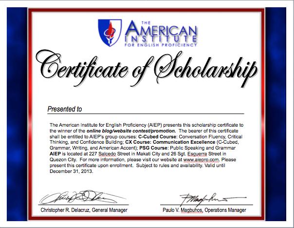 Scholarship Award Certificate Template Free
