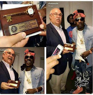 Watch Video As Shatta Wale Was Presented With Key To Worcester City