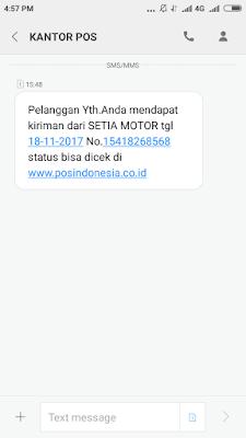 SMS Notifikasi POS. Indonesia