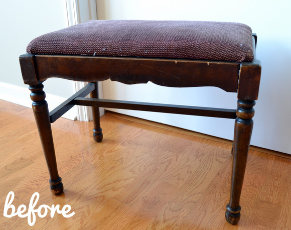 Old wooden bench before cushion upholstered
