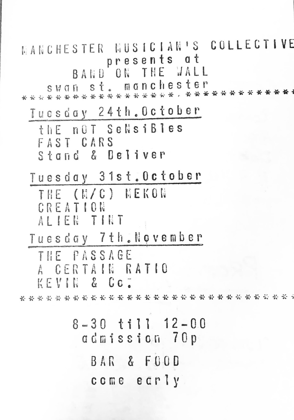 ACR Gigography 7 November 1978, Band on the Wall, Manchester