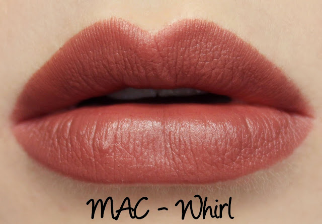 MAC Whirl lipstick swatches & review