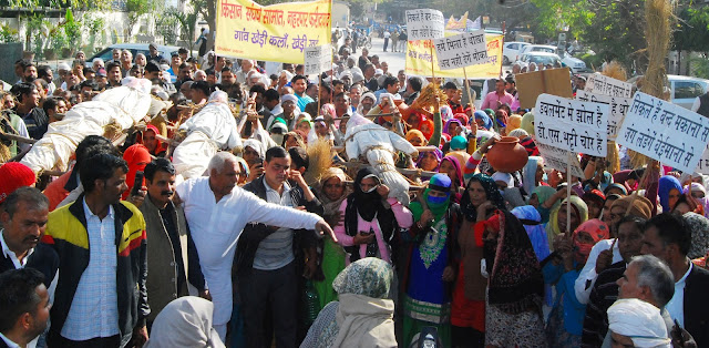 Farmers carried out the funeral of CM, Minister Krishnpal Gurjar and MLA Techchad Sharma in Faridabad