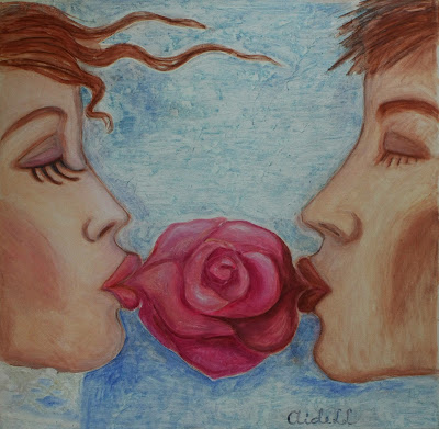 #AideLL #mixed media #art #illustration #kiss #nursery art