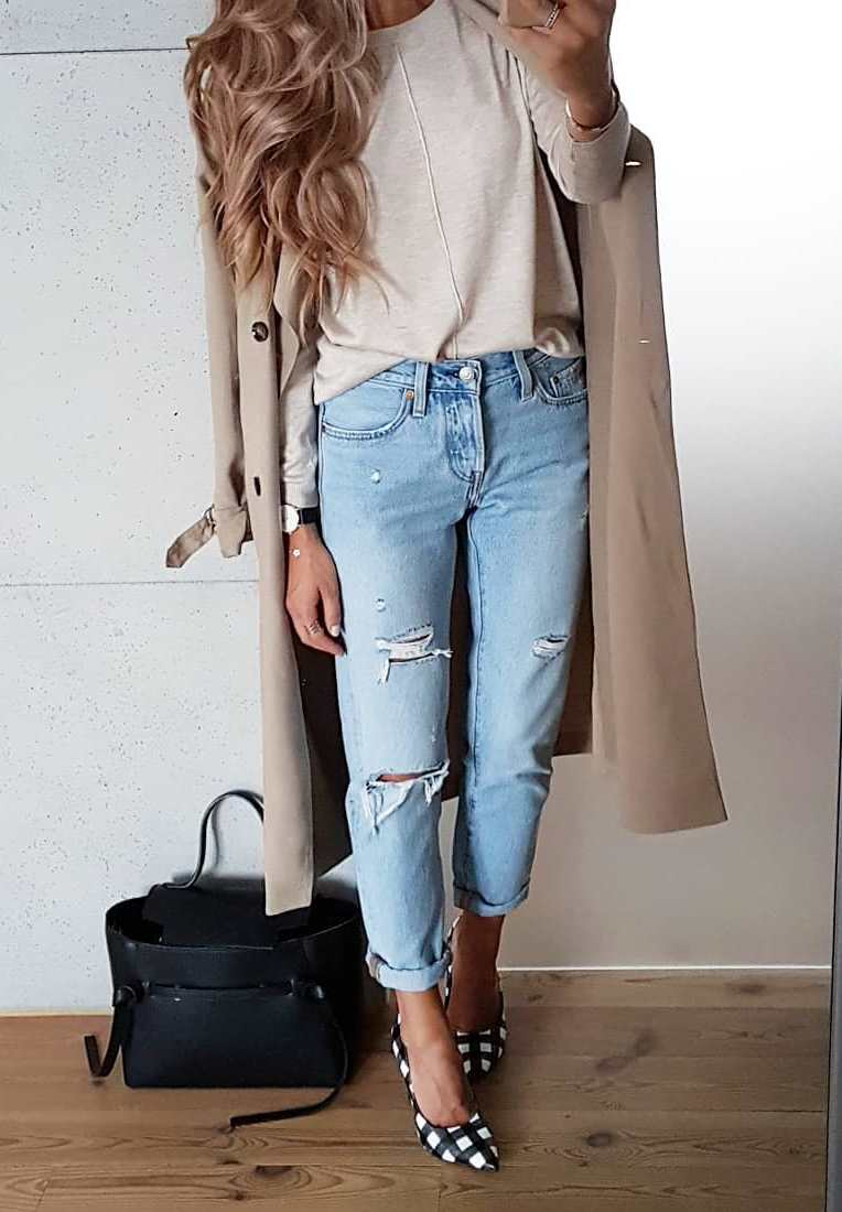 beautiful fall outfit / rips + beige trench coat + top + bag + plaid heels