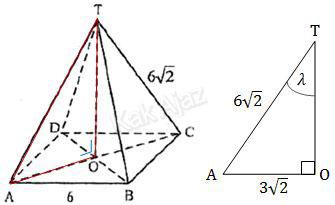 Cara menentukan sudut antara garis OT dan AT pada limas beraturan T.ABCD