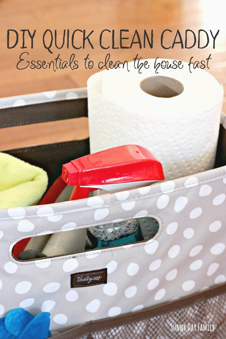 Put together a DIY Cleaning Caddy to keep all your cleaning essentials handy! Keep your house clean by taking care of little messes as they happen. Here's everything you need to make your own!