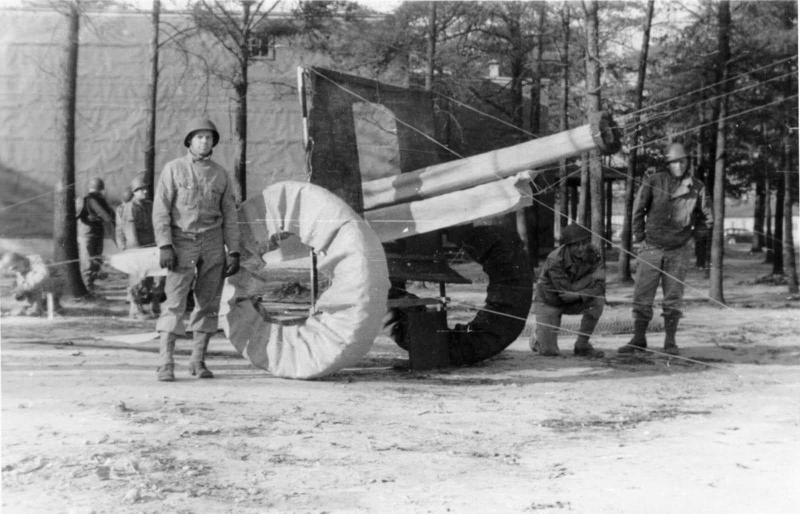 The 1,100-strong Ghost Army would usually impersonate a specific, much larger division, such as the 6th Armored Division, which had 15,000–20,000 soldiers. This photo shows a mock-up of an artillery piece typically used to support large divisions.