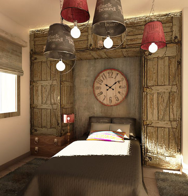 DIY bedroom lighting ideas with bedroom in vintage and rustic style
