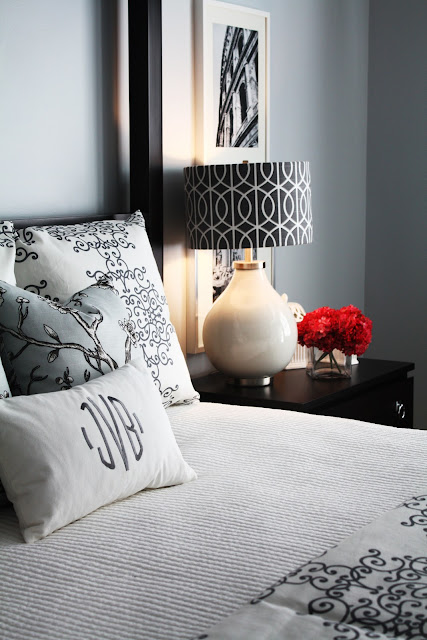 fabric lampshades in gray and white bedroom