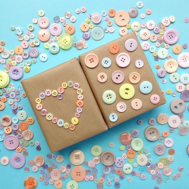parcels decorated with pastel buttons