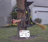 witch crashed into tree funny halloween joke front garden display