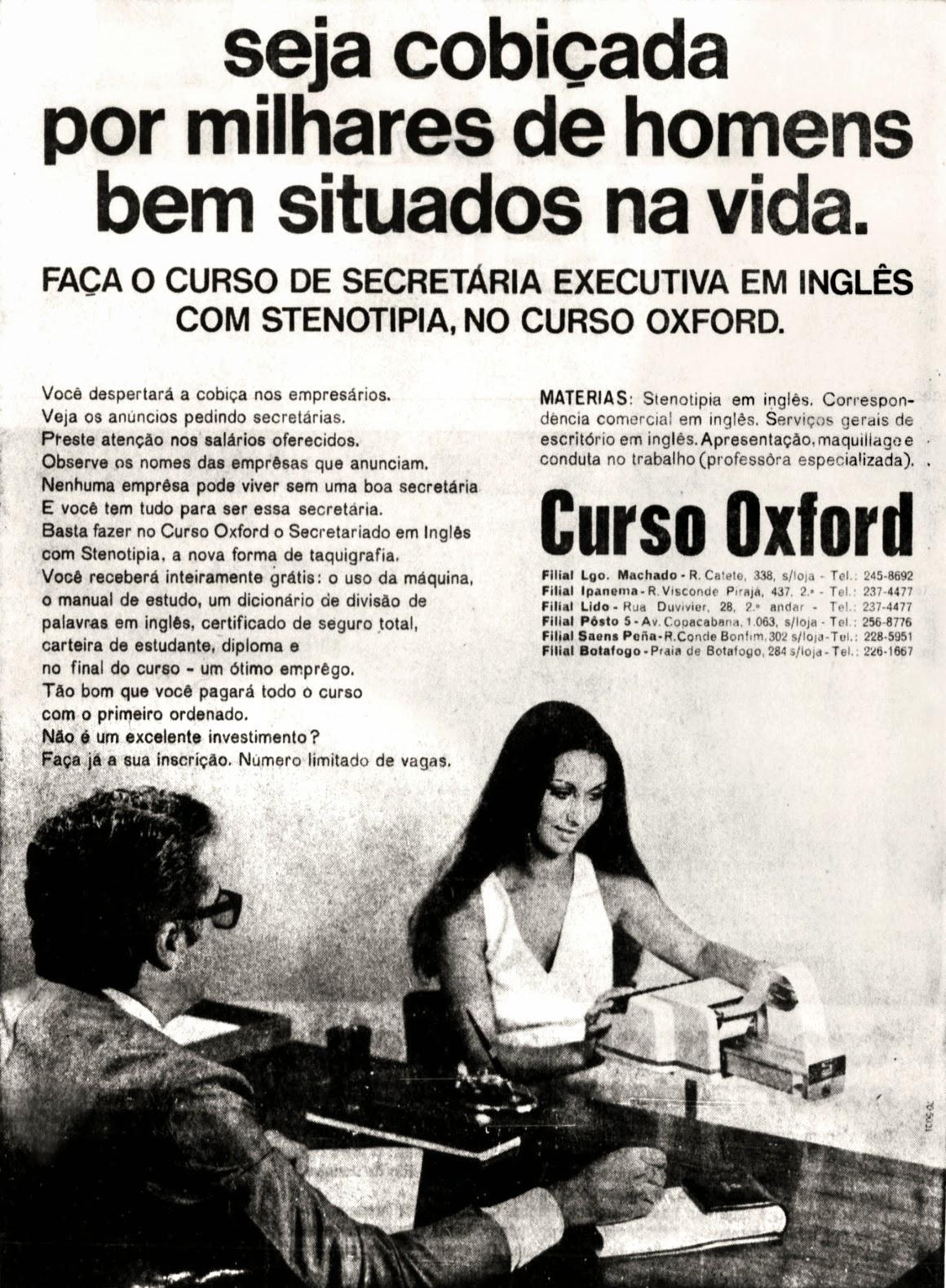 Propaganda do Curso Oxford em 1970 com um título criativo às mulheres da época