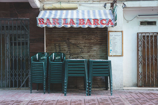 closed bar, travel photography, Spain, contemporary photo, Sam Freek,