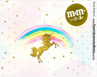 Etiqueta M&M de Fiesta de Unicornios para imprimir gratis.
