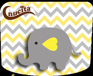 Etiqueta Nucita de Elefante Bebé en Amarillo y Gris para imprimir gratis.