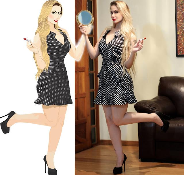 jackysimionato renanroque renan roque jacky guignard micropigmentacao ilustracao poá retro bolinha vestidodebolinha loiras blonde vintage maquiagem makeup